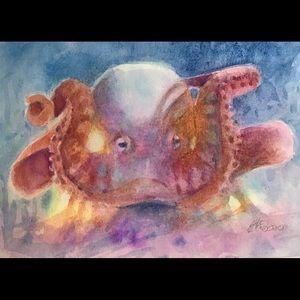 Original painting Octopus ocean watercolor artwork